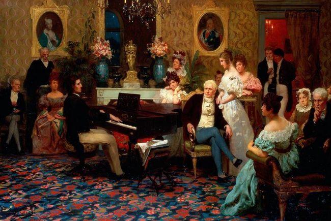 художник картины Генрик Семирадский (1843-1902) 1887 масло композитор Фридерик Шопен играл свои произведения перед аристократической польской семьи Радзивиллов в 1829 году