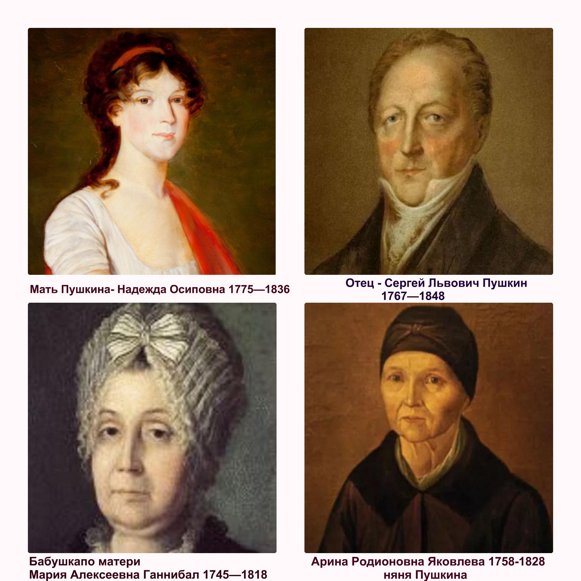 Родители, бабушка, няня, Александра Сергеевича Пушкина