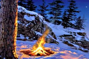 нужно сложить костёр и поджечь его, а потом просто наблюдать за фигурами, которые являет пламя.
