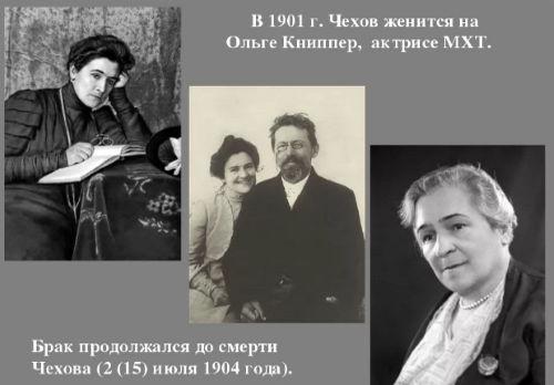В 1898 году Чехов познакомился с талантливой молодой актрисой Ольгой Книппер, с которой венчался в 1901 году