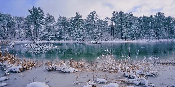 зима сковала реку прочным ледяным панцирем